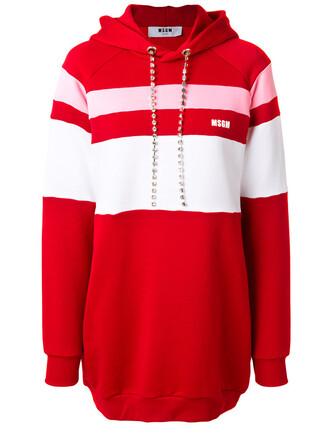 dress hoodie dress women embellished drawstring cotton red
