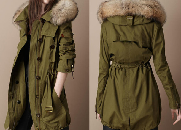 Jacket: parka, military style, army jacket coat military fur, fur ...