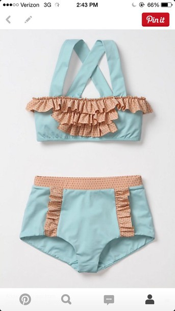 swimwear ruffle high waiste light teal cross straps