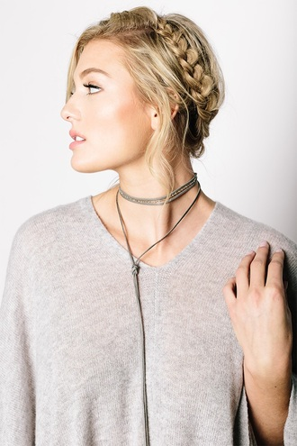 jewels tess and tricia necklace choker necklace grey leather leather necklace