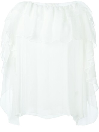 blouse ruffle silk white top