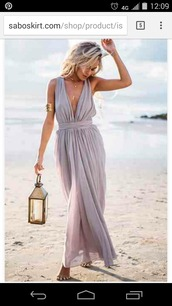dress,beige dress,purple dress,backless dress,flowy dress,grey maxidress,flowy,maxi,maxi dress,slit maxi skirt,maxi skirt,summer,summer dress,summer outfits,summer holidays,party dress,party outfits,sexy party dresses,deep v dress,v neck dress,fashion,beach,trendy,long dress,style,zaful,sabo skirt,empire waist dresses,greek goddess,elegant long dresses,plunge neckline,grey dress,plunge v neck