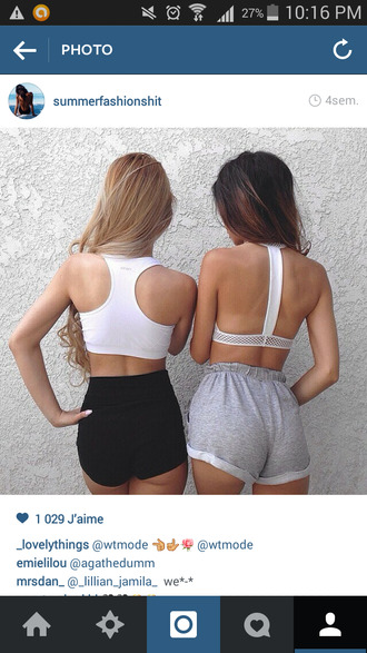 shorts white tank top crop tops right tan blonde hair and brunette