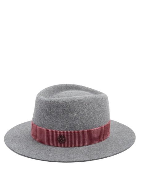 Maison Michel fur hat felt hat grey