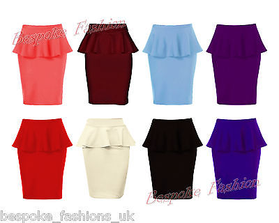 New Womens Ladies Peplum Frill Pencil Bodycon Knee Length Skirt 8 14 | eBay