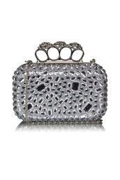 bag,silver clutch,embellished clutch,crystal embellishment,knuckle clutch,clutch,lined clutch,long chain,www.ustrendy.com