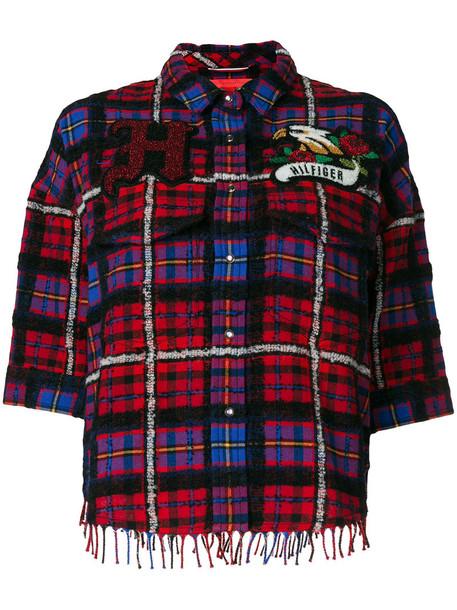 Hilfiger Collection - Tartan boxy fringe shirt - women - Cotton/Polyamide/Alpaca/other fibers - 8, Cotton/Polyamide/Alpaca/other fibers