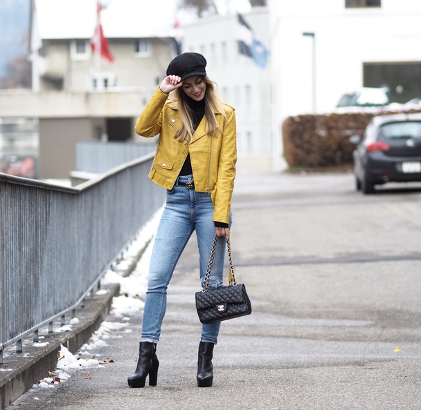 the vogue word blogger shoes jacket jeans belt bag fall outfits leather jacket yellow jacket chanel bag ankle boots