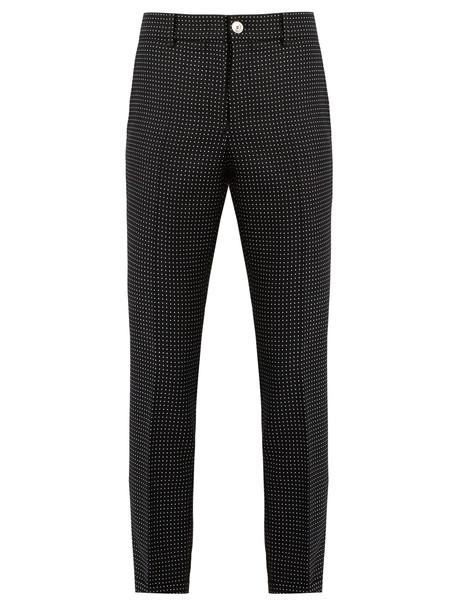print wool navy pants