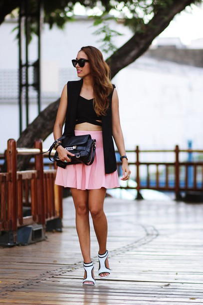 preppy fashionist blogger sunglasses top skirt jacket shoes bag