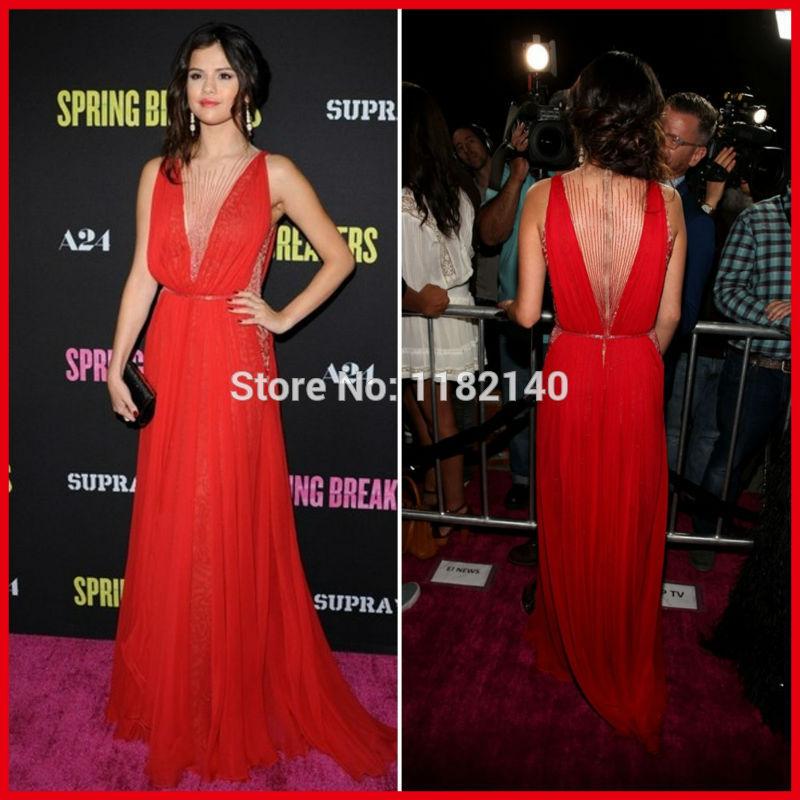 Hot sale scoop neckline beaded a line chiffon 2014 red carpet dress selena gomez dress