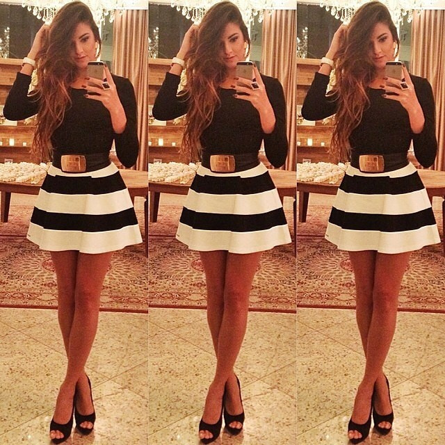 Long sleeve striped dress zx925a