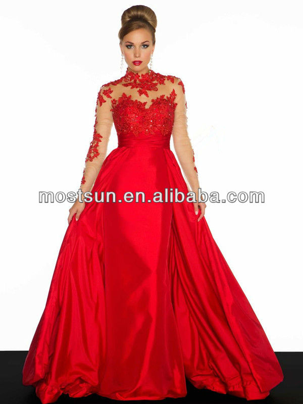 Ev553 Illusion High Neck Red Lace Bodice Arabic Elegant Long Sleeve Evening Dress 2013 Evening Dresses Made In China - Buy Evening Dress,Long Sleeve Evening Dress,Evening Dress 2013 Product on Alibaba.com