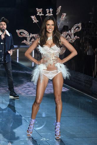 underwear panties alessandra ambrosio bra sexy white sandals runway victoria's secret