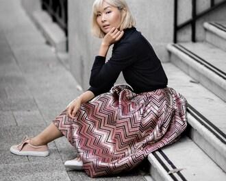 beige renegade blogger blouse skirt sweater midi skirt pink skirt flats
