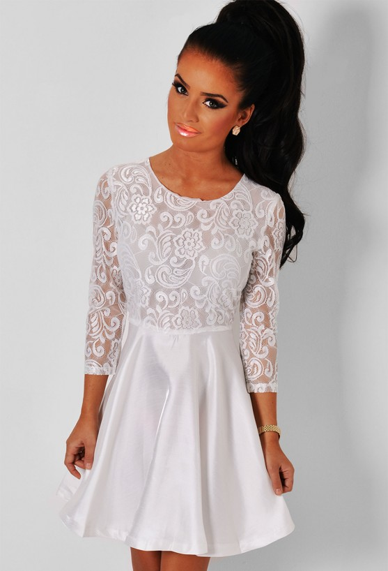 Angel White Long Sleeved Lace Skater Dress Pink Boutique