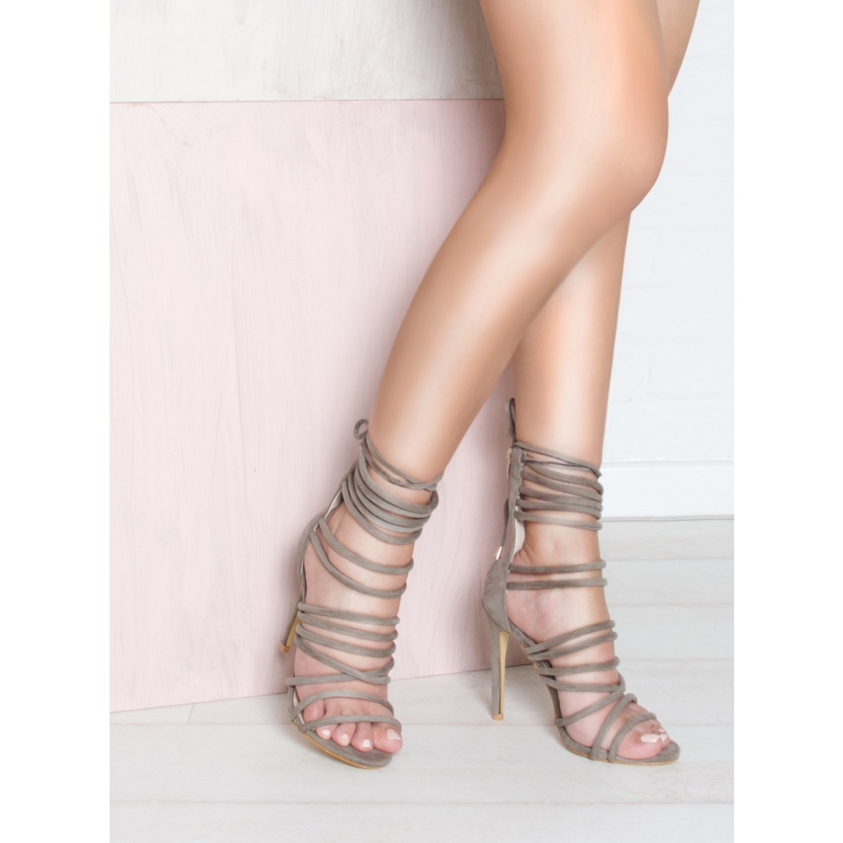 Khaki Suede Strappy Heels : Simmi Shoes