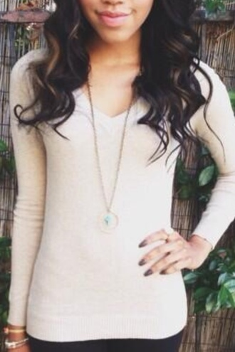 sweater beige cotton solid color tight