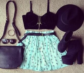 skirt blue bright blue back hat bag glasses accessories shoes shorts