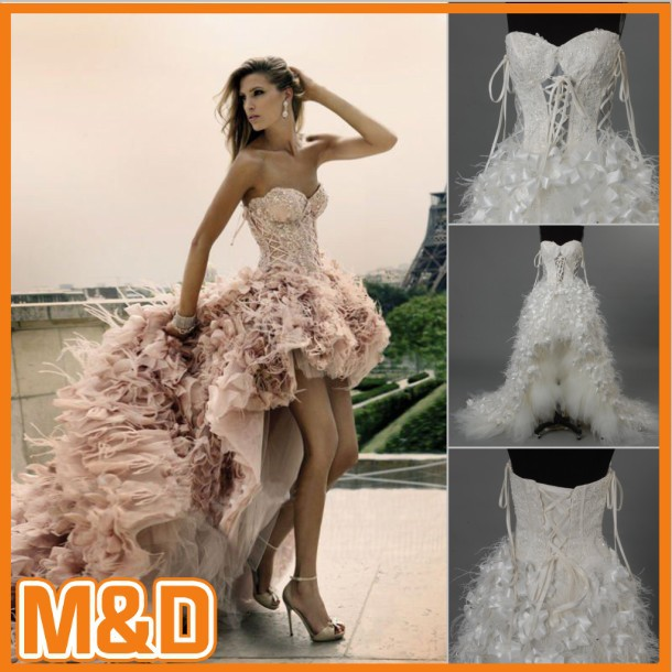 Real Sample! Luxurious Sweartheart Front Short and Long Back wedding dress 2012Wedding Dresses With Lace Beadwork(MD0004)-in Wedding Dresses from Apparel & Accessories on Aliexpress.com
