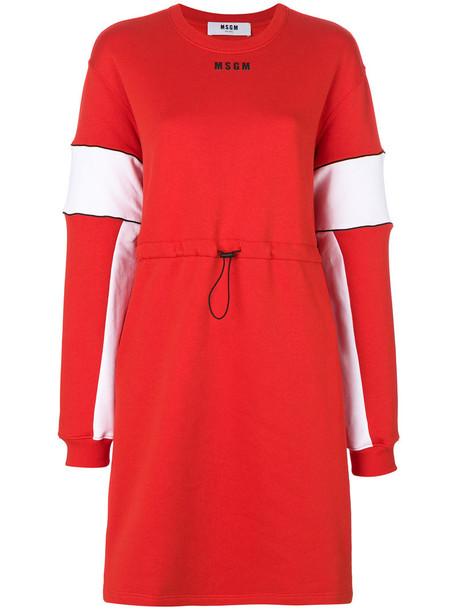 MSGM dress sweater dress women cotton red