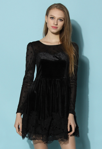 dress chicwish black dress party dress dots crochet