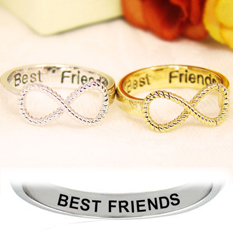 Best Friends Ring Women's Infinity Ring Engraved Ring Jewellery Gold Silver gp | eBay
