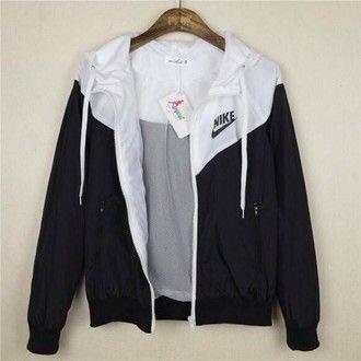 jacket nike hoodie jacket black white
