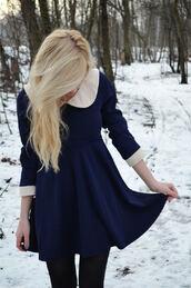 dress,short dress,collar,white collar,white,cream,white sleeves,sleeves,cream sleeves,fashion,girly,indie,cute,navy,dark blue,high waist line,love,pretty,collared dress