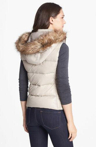 jacket beige jacket faux fur vest gilet beige fur gilet black vest coat