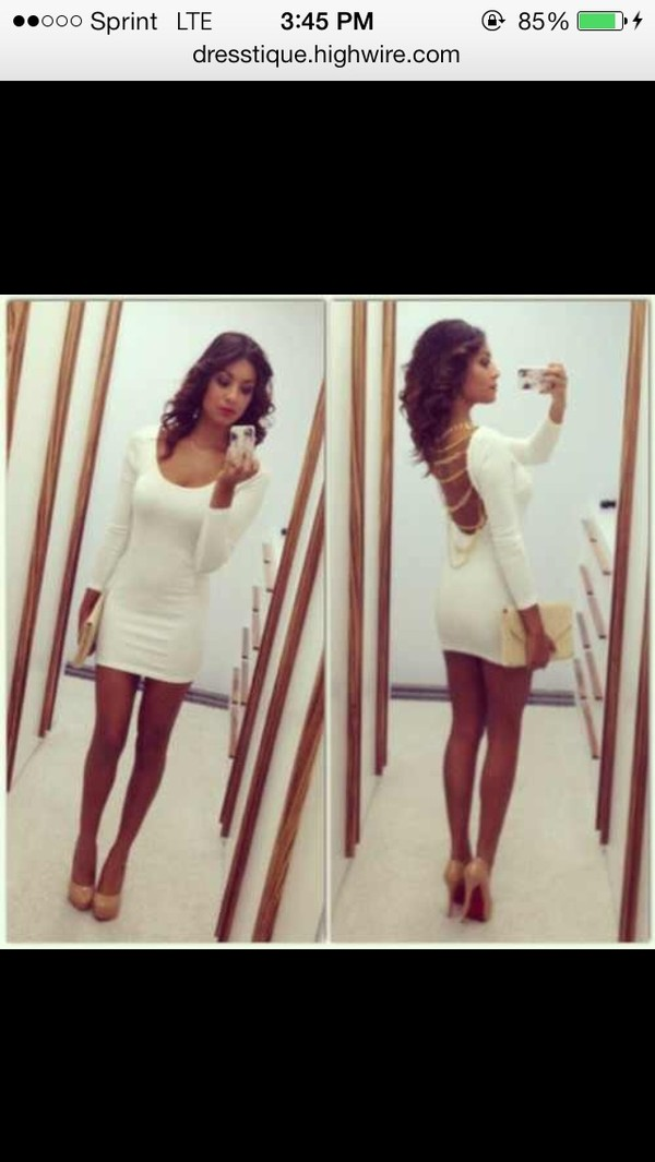 dress bodycon dress gold chain nude shoes nude high heels nude clutch short dress open back dresses