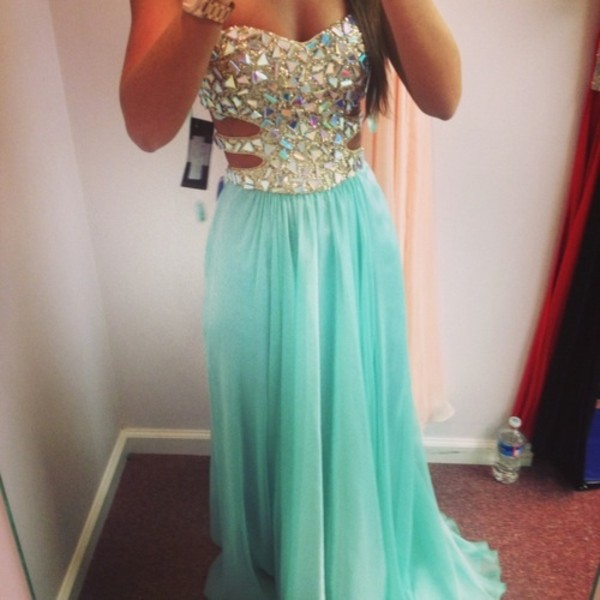 prom dress rhinestones rhinestones dress turquoise bustier prom dress bustier dress sweetheart neckline sweetheart dress cut-out dress formal dress long prom dress homecoming dress homecoming