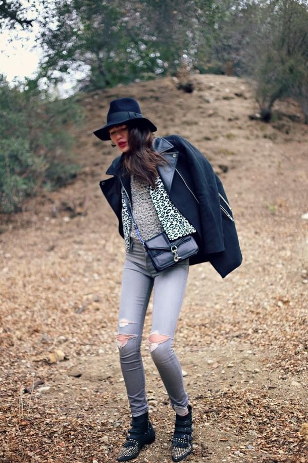 natalie off duty hat jacket coat bag jeans jewels shoes