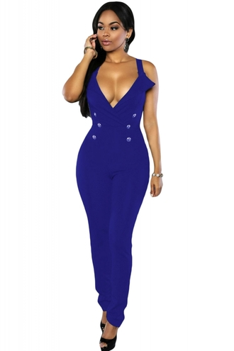 jumpsuit blue romper bodycon sexy jumpsuit plunge v neck clubwear cleavage evening dress date night dress