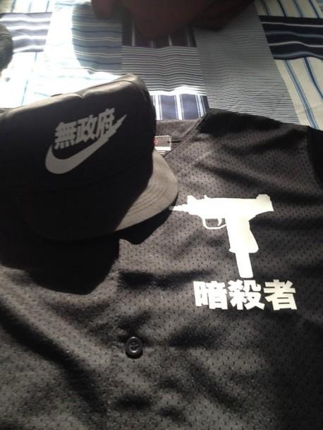 shirt clothes baseball jersey jersey tumblr streetstyle japanese nike snapback hat gun black menswear menswear urban menswear dope
