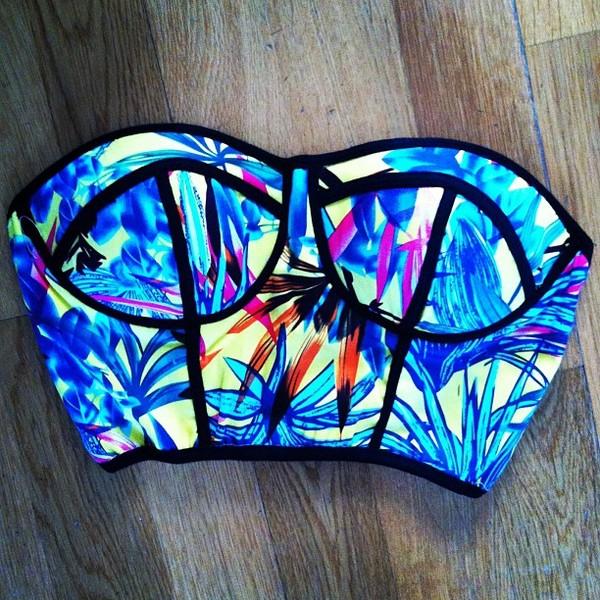 tank top crop tops bustier top neon swimsuit neon palm tree print swimwear