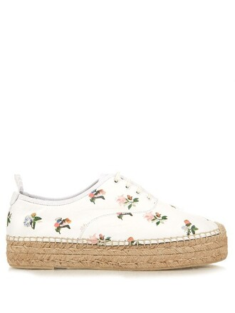 espadrilles lace floral leather print white shoes