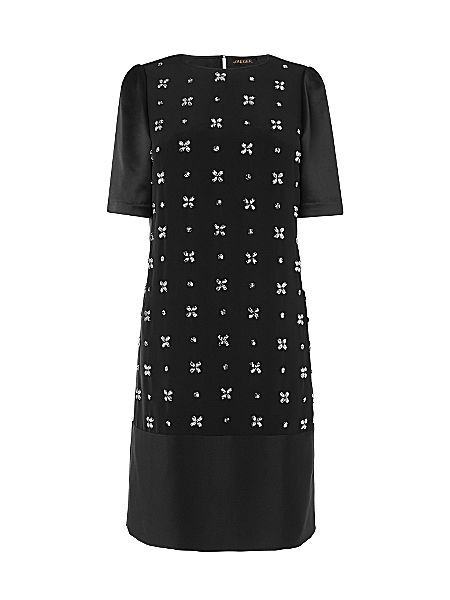 Jaeger Embellished Front Dress Black - House of Fraser