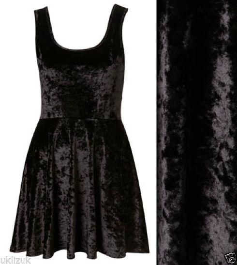 Topshop black crushed velvet mini flippy skater party dress