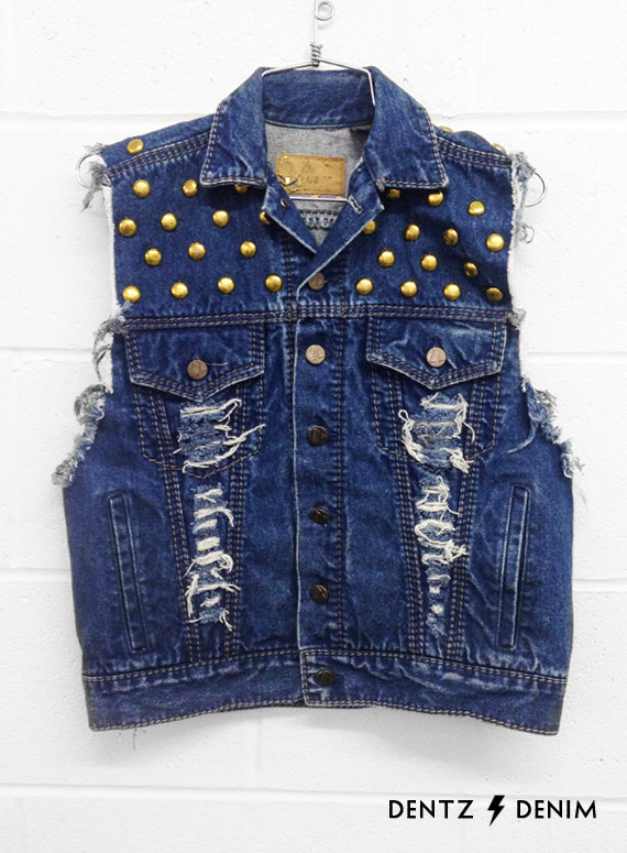 Blue Vest Gold Studs  Juniors Large by DentzDenim on Etsy