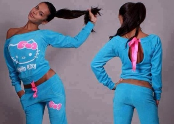 sweater hello kitty joggers t-shirt blue shirt pants blue hot pink jumpsuit hello kitty velvet fabric