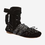 shoes,studs,studded shoes,flats,designer shoes,miu miu,velvet shoes