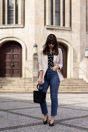 bag,black shoes,polka dots,polka dots shirt,blazer,jeans,denim,black bag,handbag,shoes,sunglasses