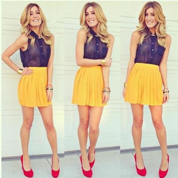 Shirt Skirt Clothes Black See Through Yellow Sheer Blouse