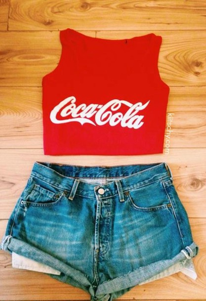 Tank top: top, kiitschy, outfit, cute, vest, red, denim shorts ...