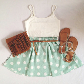 dress polka dots polka dot dress cute outfits cute pretty outfit sandals strap sandals fringe purse fringes fringe crossbody crossbody bag blue mint blouse shirt tank top skirt whitecrochetdress cure lovely