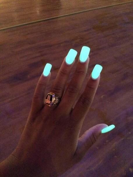 Nail polish: blue, neon, light, glow in the dark, pretty, party make ...