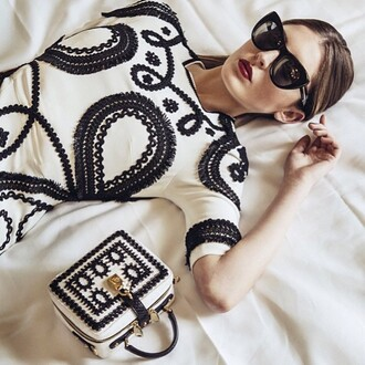 bag dolce and gabbana silk brocade black and white luxury made in italy italian european style summer trendy fashion designers