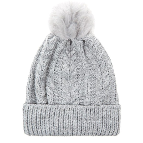 Grey Faux Fur Pom Bobble Beanie - Polyvore