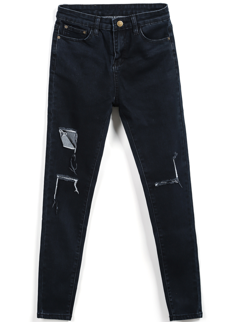 Ripped pockets black denim pant